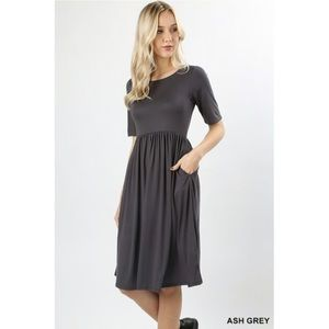 Gray Empire Waist Pocket Dress Small
